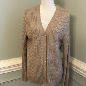 Brooks Brothers Silk/Cashmere Cable Knit Cardigan